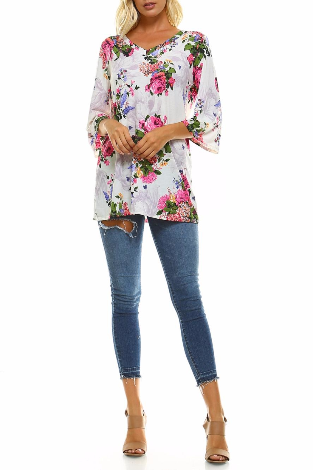 Carrie Allen Floral Knit Top - Front Full Image