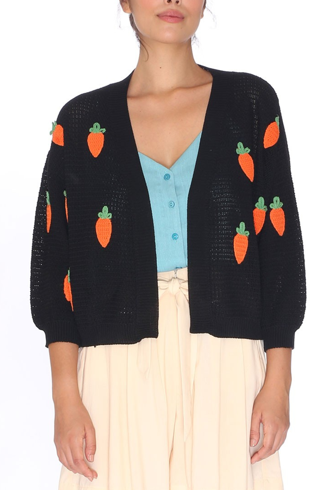PepaLoves Carrot Cardigan - Front Cropped Image