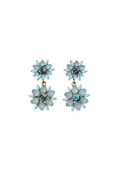Shoptiques Product: Serenity-Blue Flower Earrings