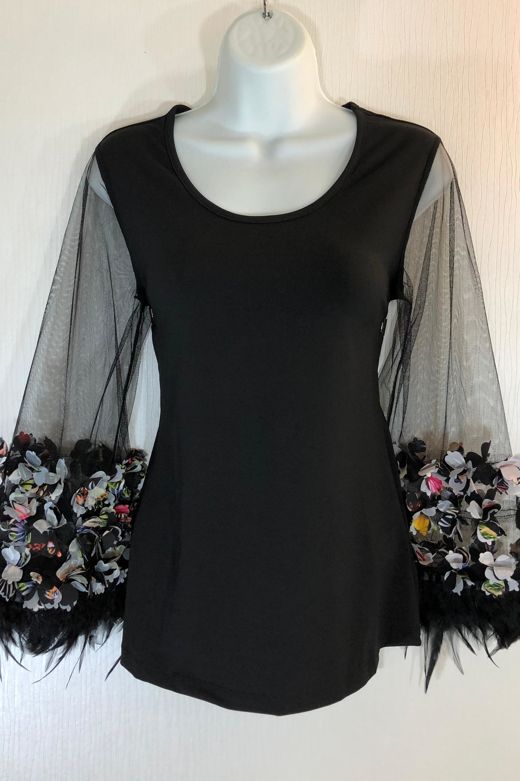 Cartise Feather Trim Top - Main Image