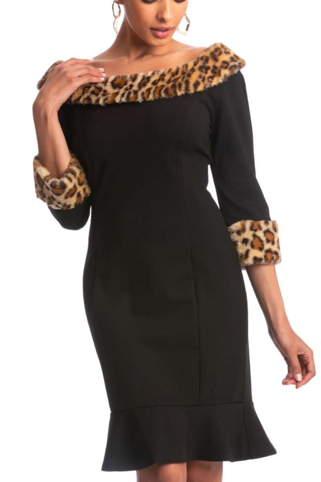 Cartise Leopard Trim Dress - Front Cropped Image
