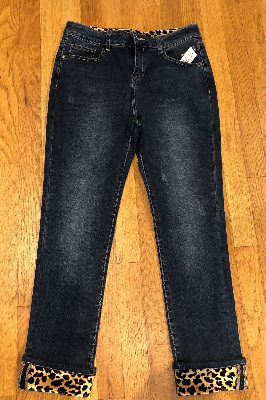 Cartise Leopard Trim Jeans - Front Cropped Image