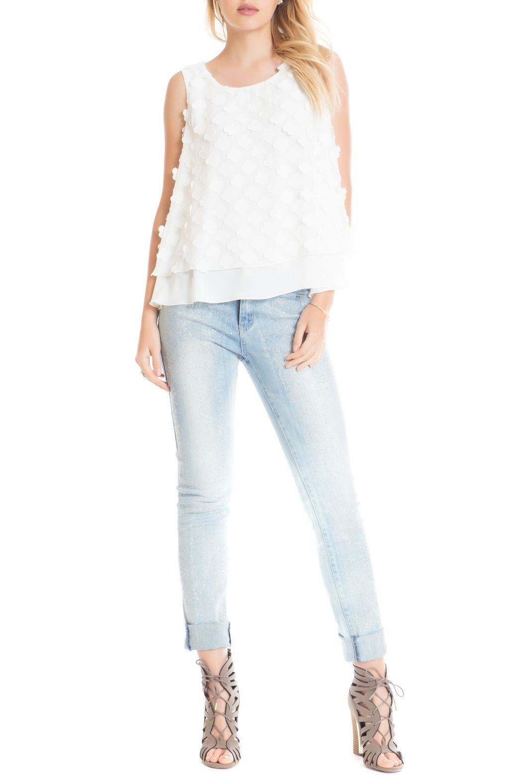 Cartise White Petal Top - Front Cropped Image