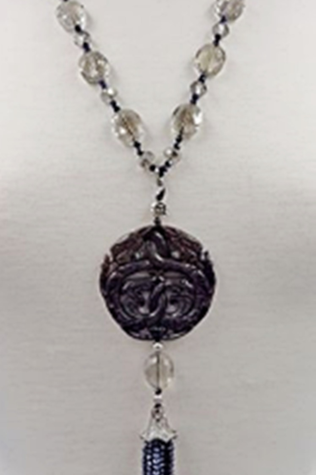 InStyle Trading CARVED BLACK JADE & CRYSTAL PENDANT - Main Image