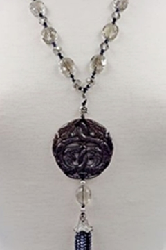 InStyle Trading CARVED BLACK JADE & CRYSTAL PENDANT - Product List Image