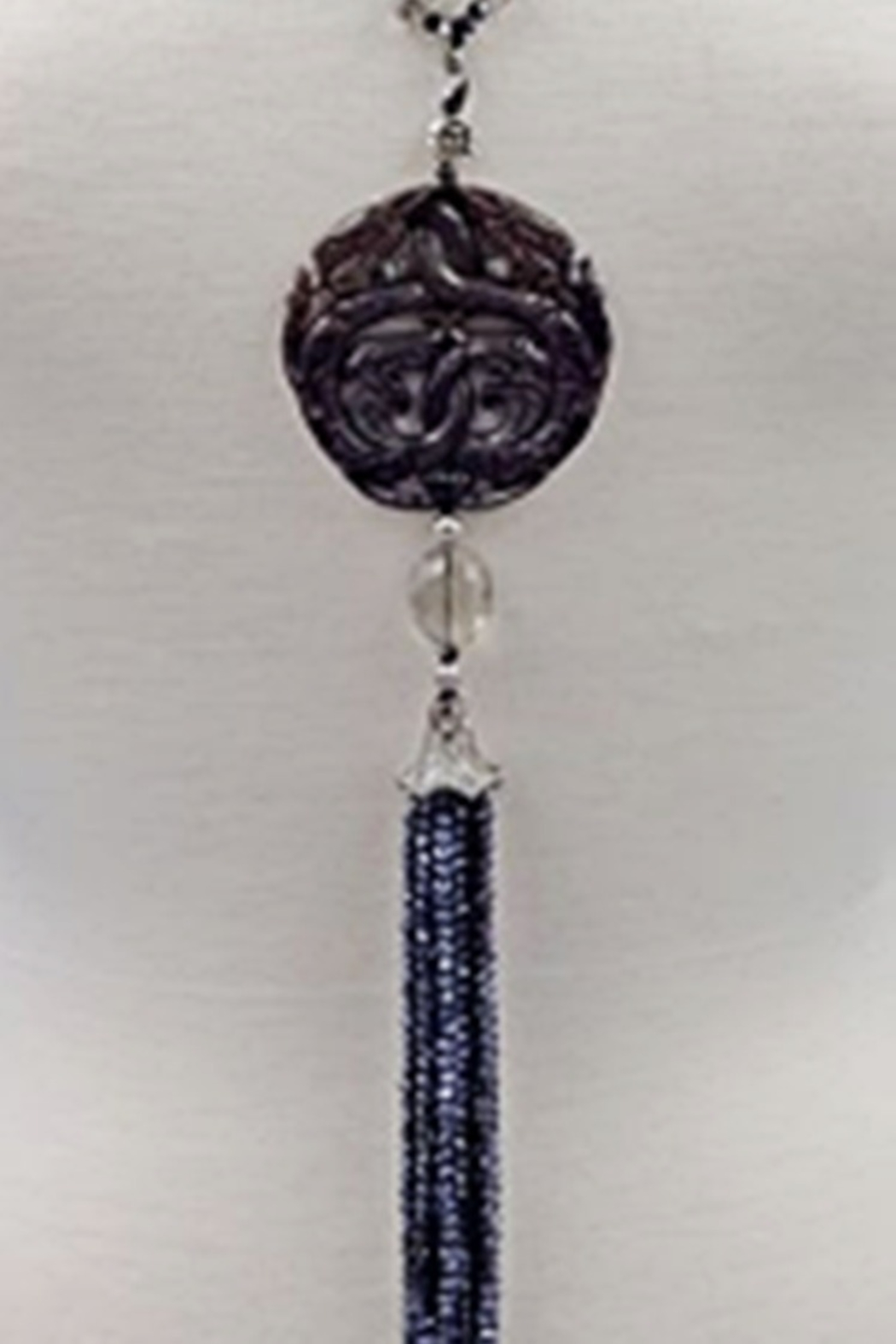 InStyle Trading CARVED BLACK JADE & CRYSTAL PENDANT - Front Full Image