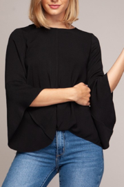 Naked Zebra Cascade Bell Sleeve Blouse - Front cropped