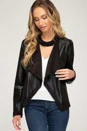 Style U CASCADE FAUX LEATHER JACKET - Front cropped