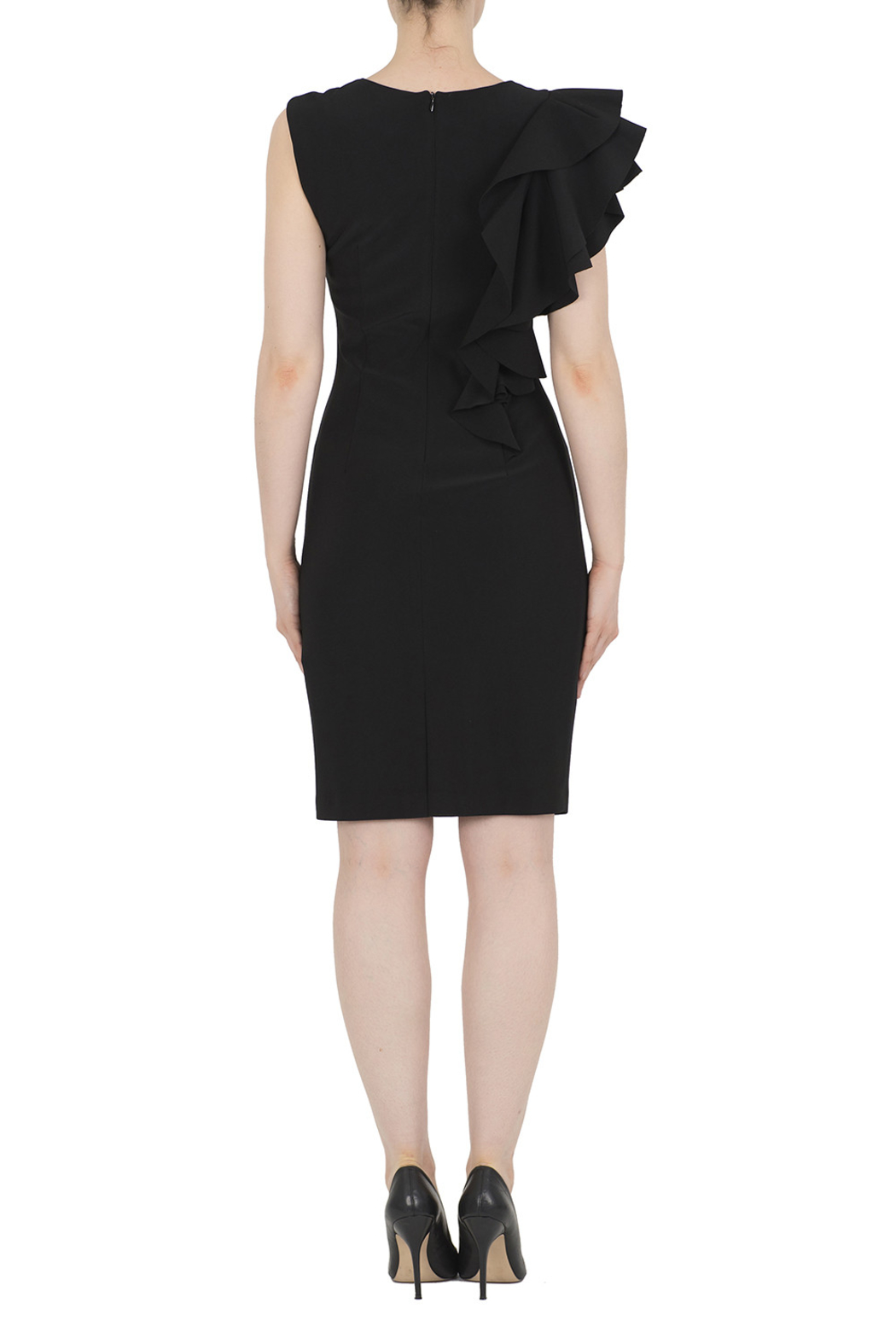 Joseph Ribkoff Cascading Ruffles Dress, Red or Black - Side Cropped Image