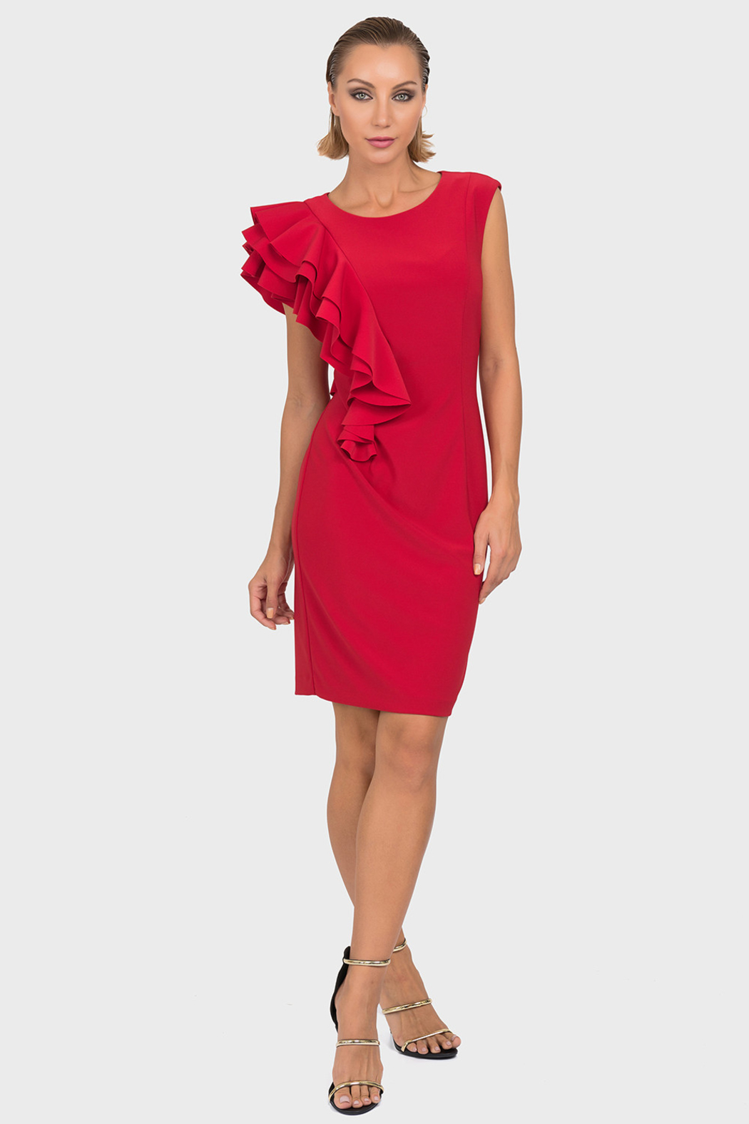 Joseph Ribkoff Cascading Ruffles Dress, Red or Black - Front Cropped Image