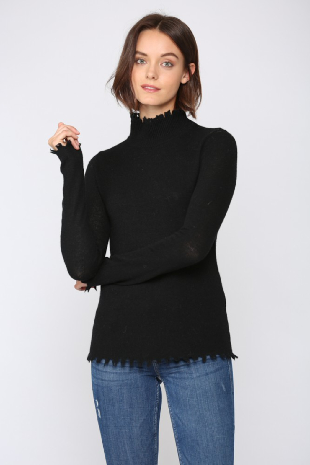 Fate  Cashmere Blend Distressed  Mock Neck Sweater - Main Image