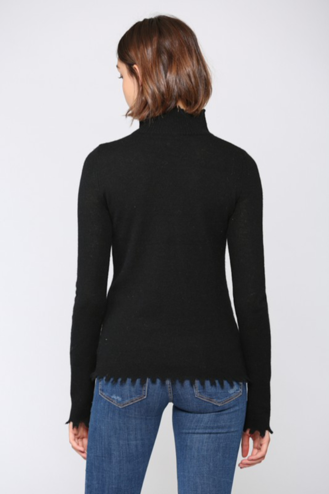 Fate  Cashmere Blend Distressed  Mock Neck Sweater - Side Cropped Image