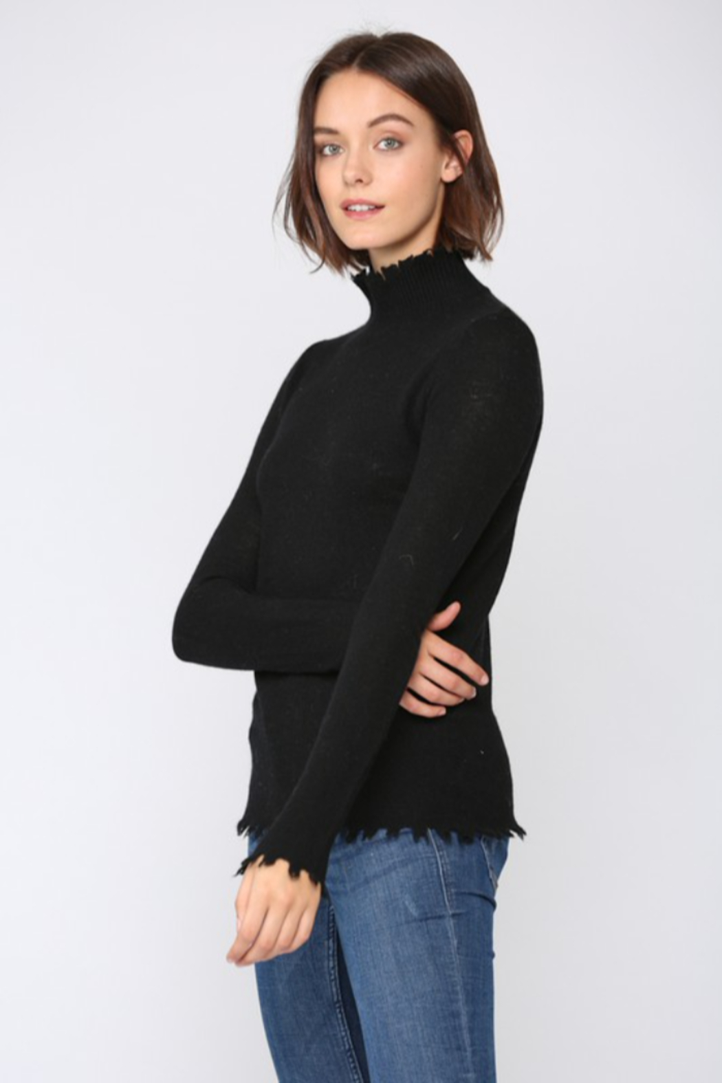 Fate  Cashmere Blend Distressed  Mock Neck Sweater - Front Full Image
