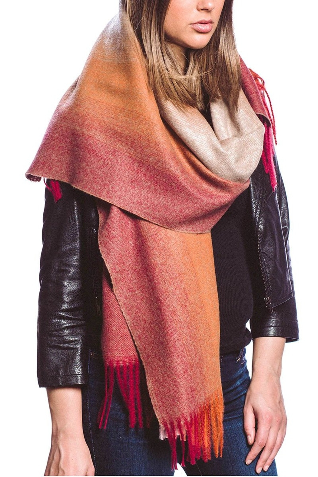 US Jewelry House Cashmere Blend Ombre Scarf w/Fringe - Front Cropped Image