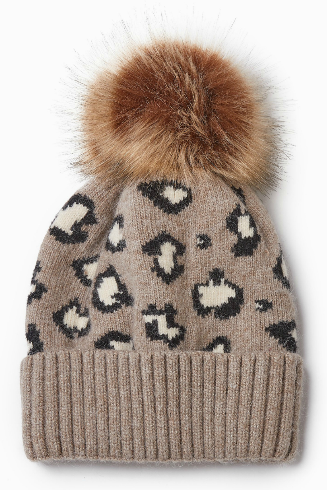 Look by M Cashmere Blended Leopard Pattern Hat - Main Image