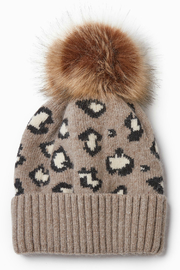 Look by M Cashmere Blended Leopard Pattern Hat - Front cropped