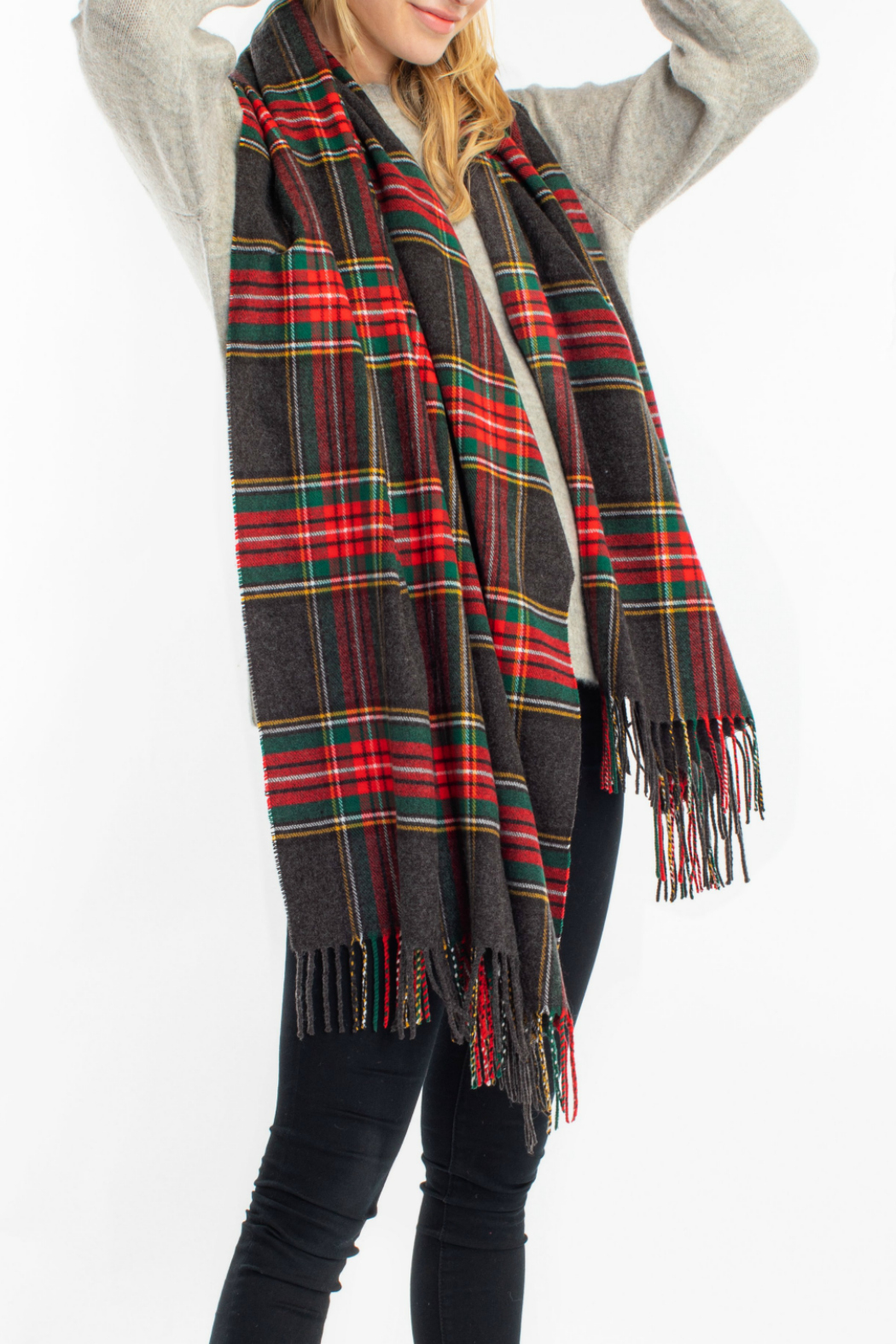 Look by M Cashmere blended plaid scarf - Main Image