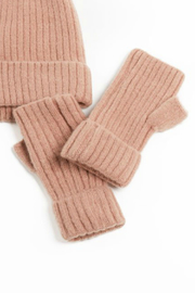 Look by M Cashmere blended ribbed fingerless gloves - Product Mini Image