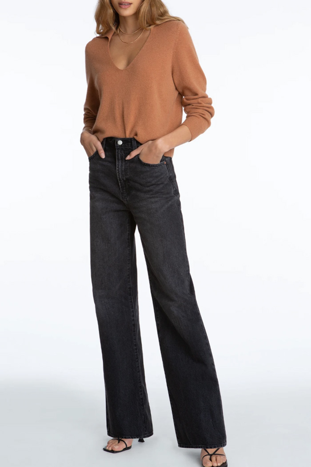 525 America Cashmere Polo Pullover - Side Cropped Image