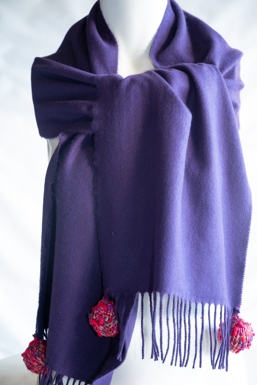 Handmade by CA artist 100% Cashmere with Knit Poms - Main Image