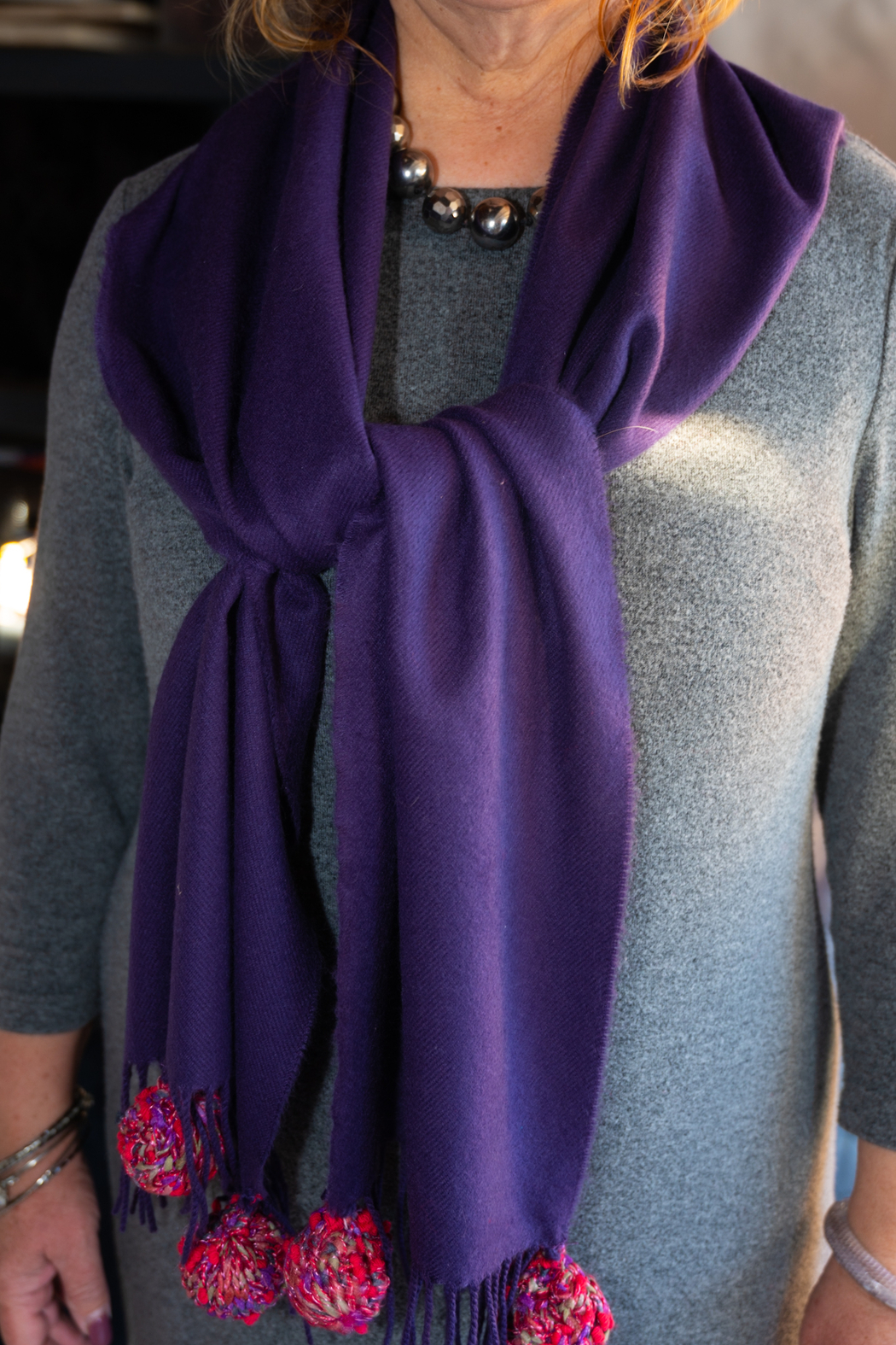 Handmade by CA artist 100% Cashmere with Knit Poms - Front Full Image