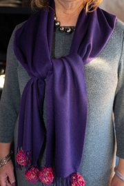 Handmade by CA artist 100% Cashmere with Knit Poms - Front full body