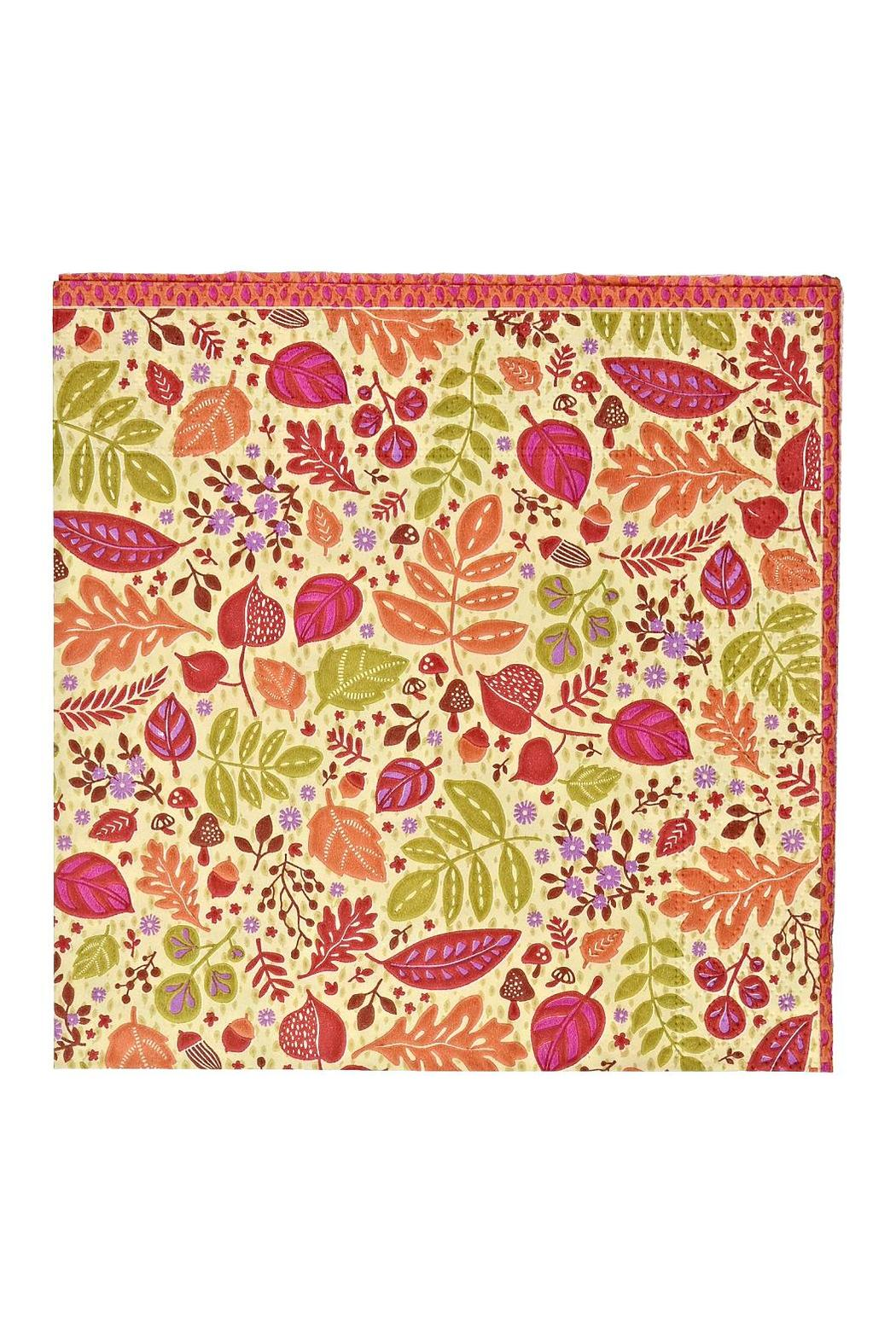 Caspari Calico Leaves Cocktail Napkins - Front Cropped Image