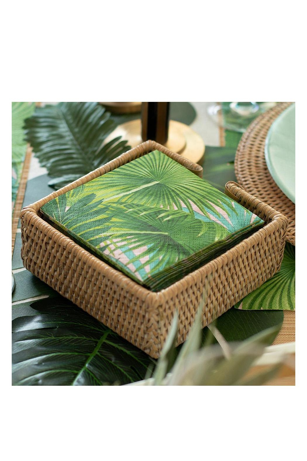 Caspari Rattan Cocktail Napkin Holder - Front Full Image