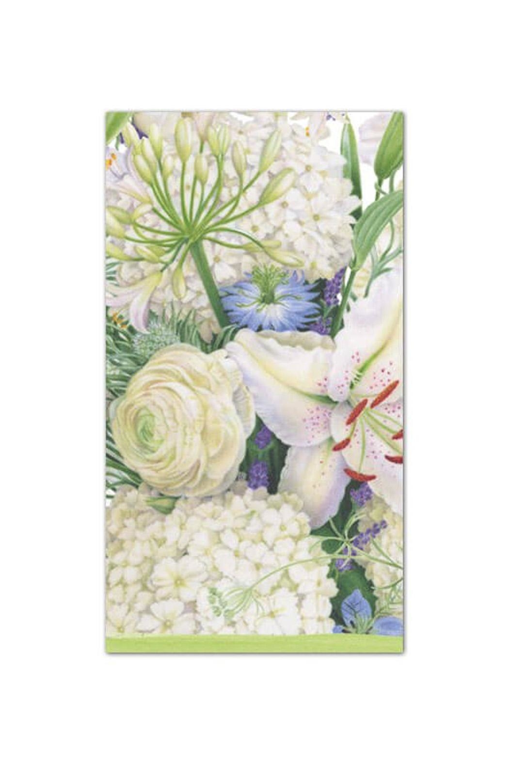 Caspari White Blooms Paper Guest Towel - Front Cropped Image