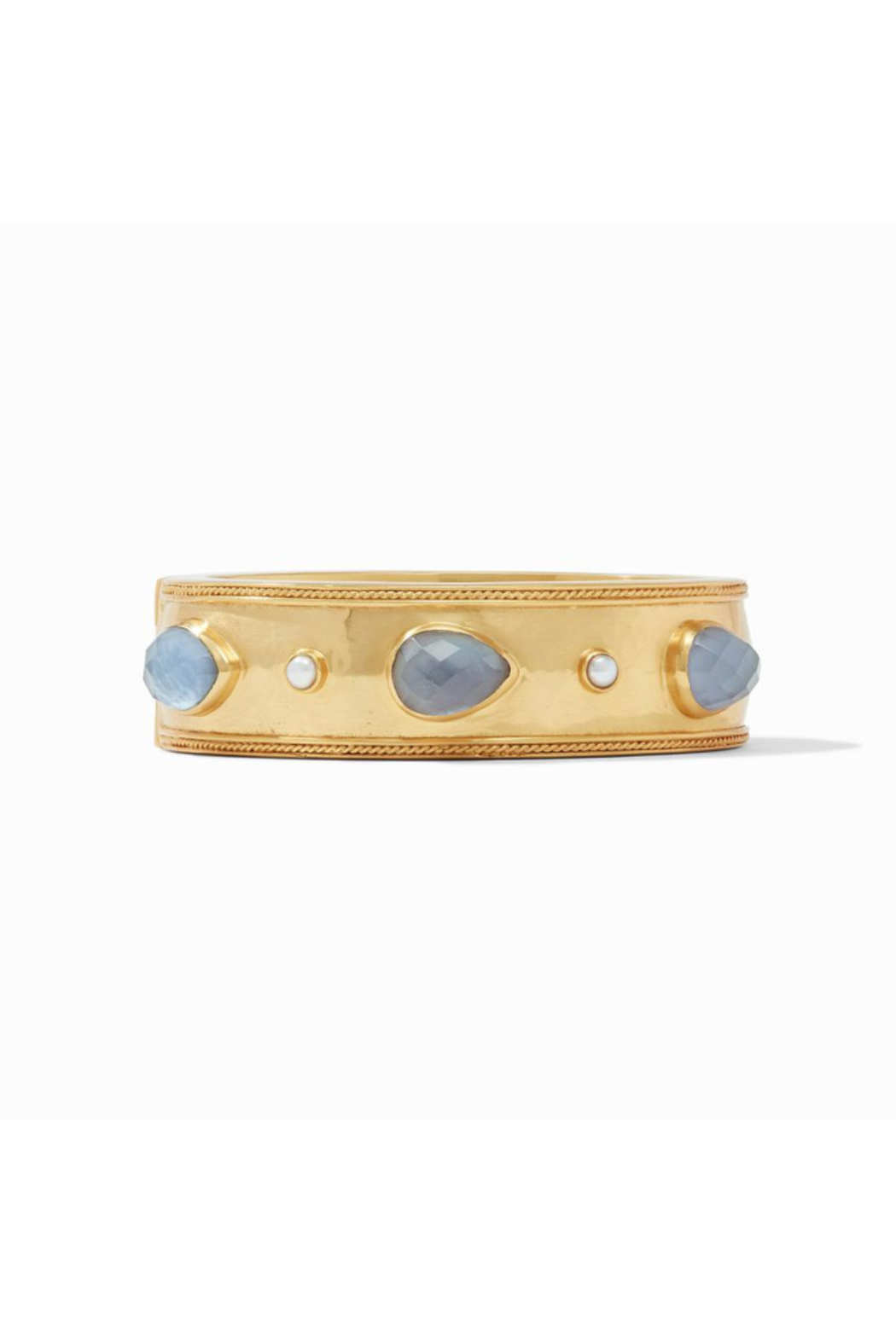 Julie Vos Cassis Statement Hinge Bangle-Gold/Iridescent Slate Blue w/ Pearl Accents - Main Image