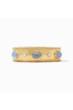 Julie Vos Cassis Statement Hinge Bangle-Gold/Iridescent Slate Blue w/ Pearl Accents - Product List Image
