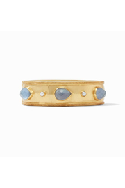 Julie Vos Cassis Statement Hinge Bangle-Gold/Iridescent Slate Blue w/ Pearl Accents - Product Mini Image
