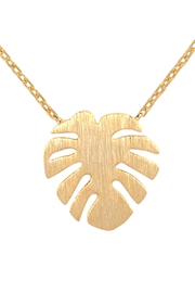 Riah Fashion Cast-Fringe-Leaf Pave-Necklace - Front full body