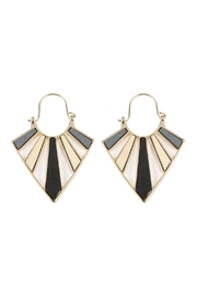 Riah Fashion Cast-Metal With-Wood-Inset Hoop-Earrings - Product Mini Image