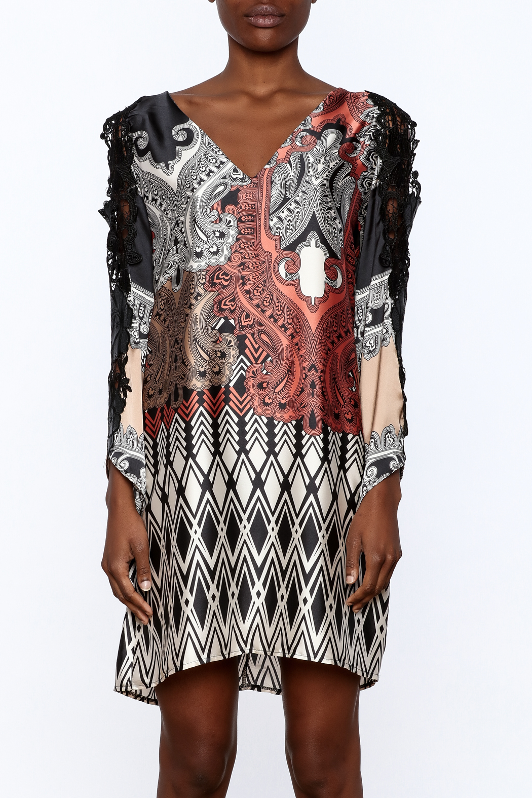 Casting Lace Tunic Dress - Side Cropped Image