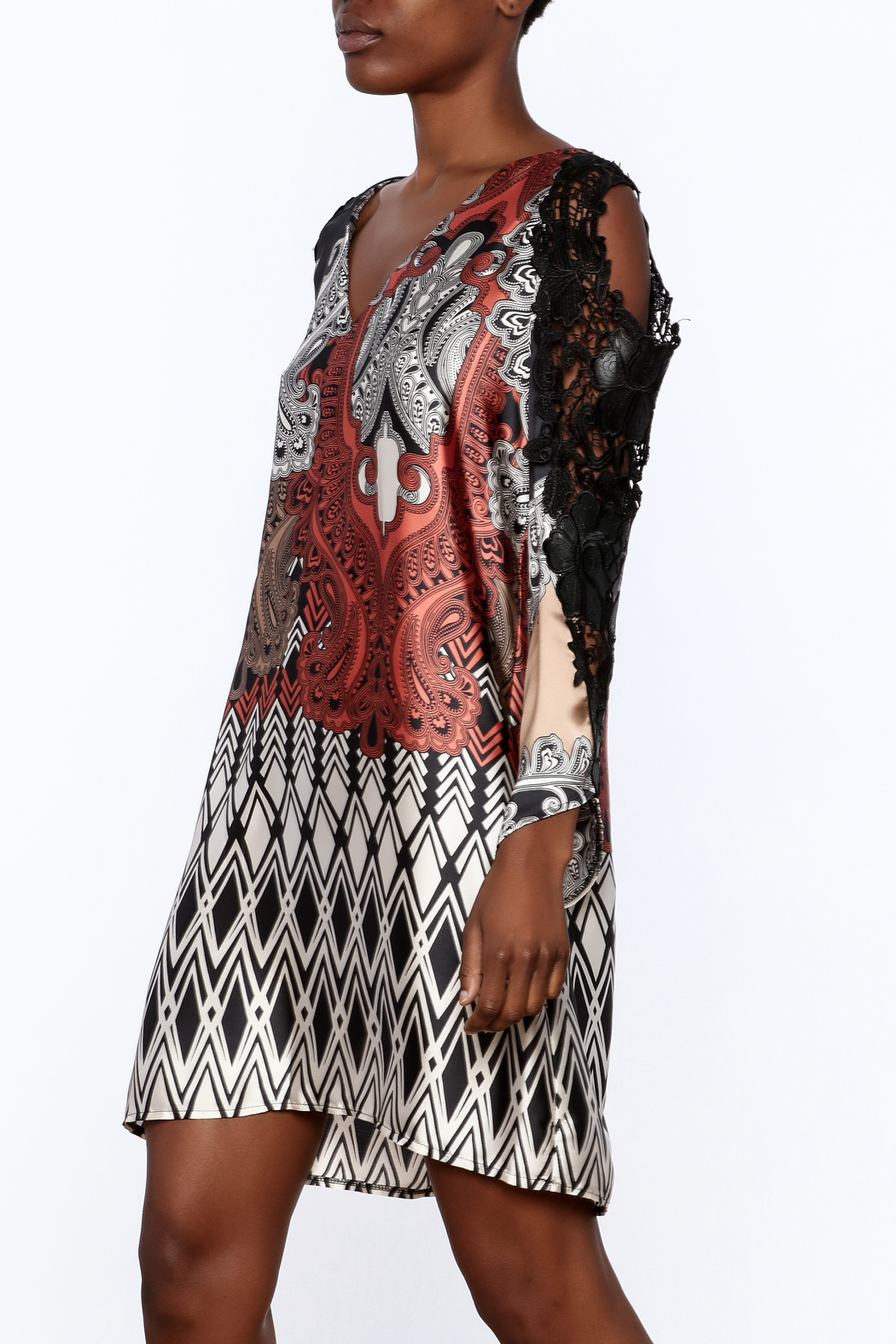 Casting Lace Tunic Dress - Front Cropped Image