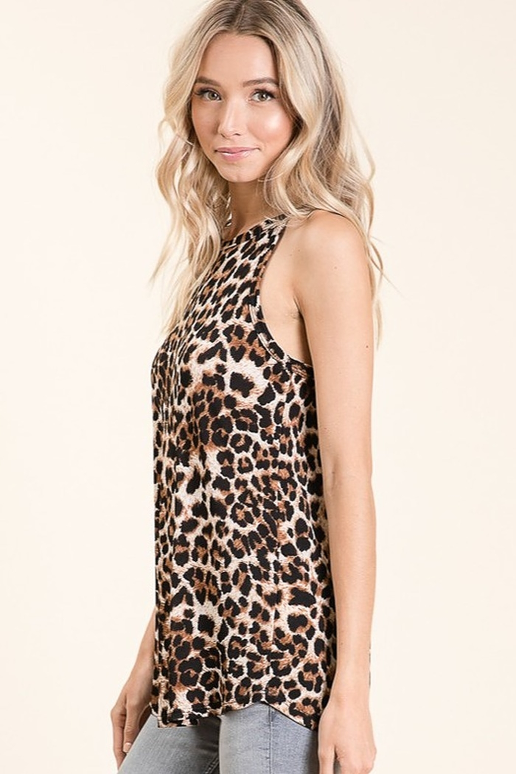 bombom Casual Animal Print Sleeveless Top - Front Full Image