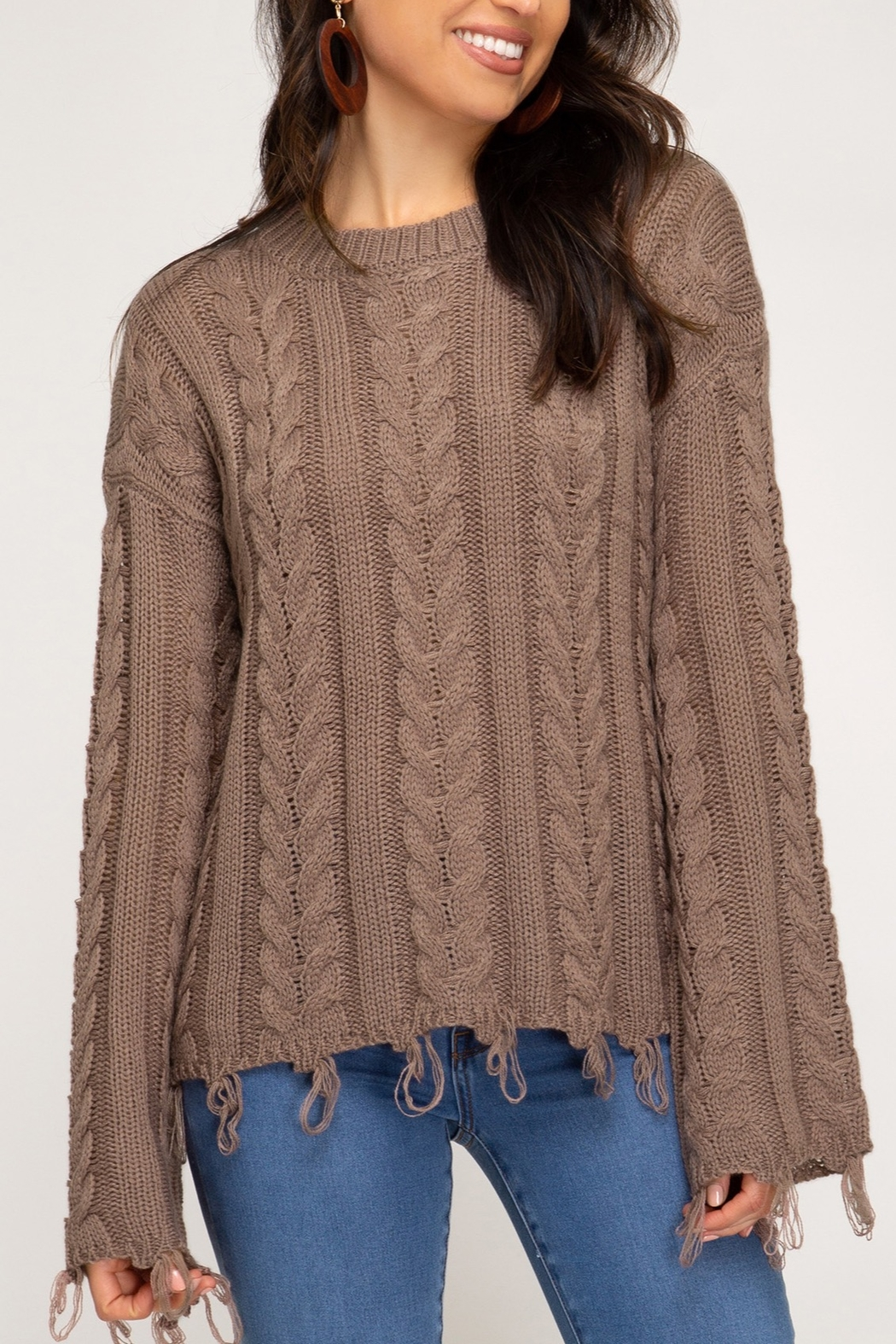 She + Sky Casual Encounters Sweater - Front Cropped Image