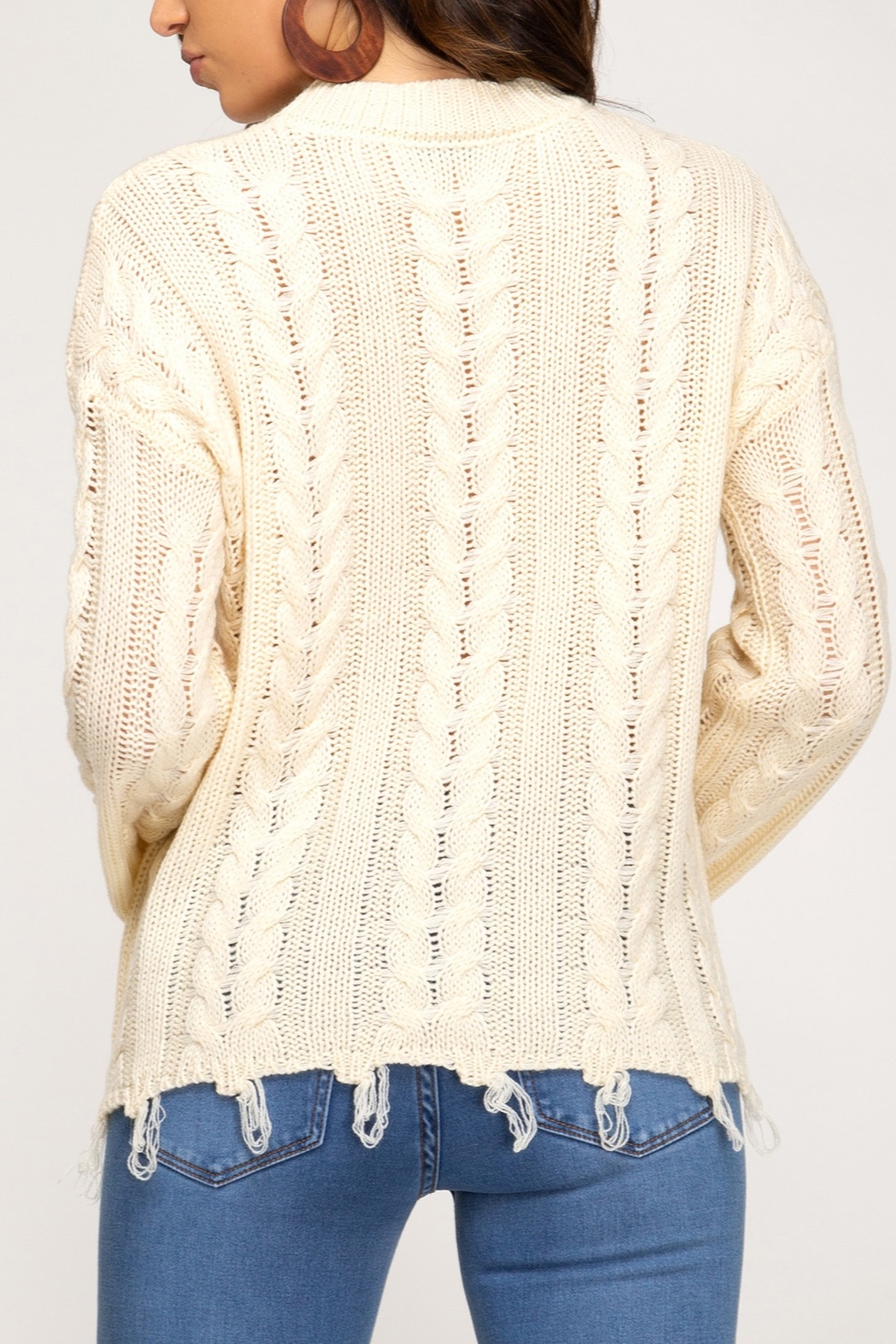 She + Sky Casual Encounters Sweater - Front Full Image