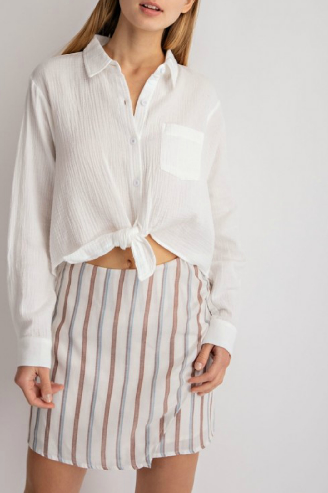 lelis Casual long sleeve top with front tie detail - Main Image