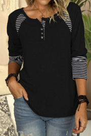 Shewin  Casual Striped Color Block Crew Neck Shirt - Product Mini Image