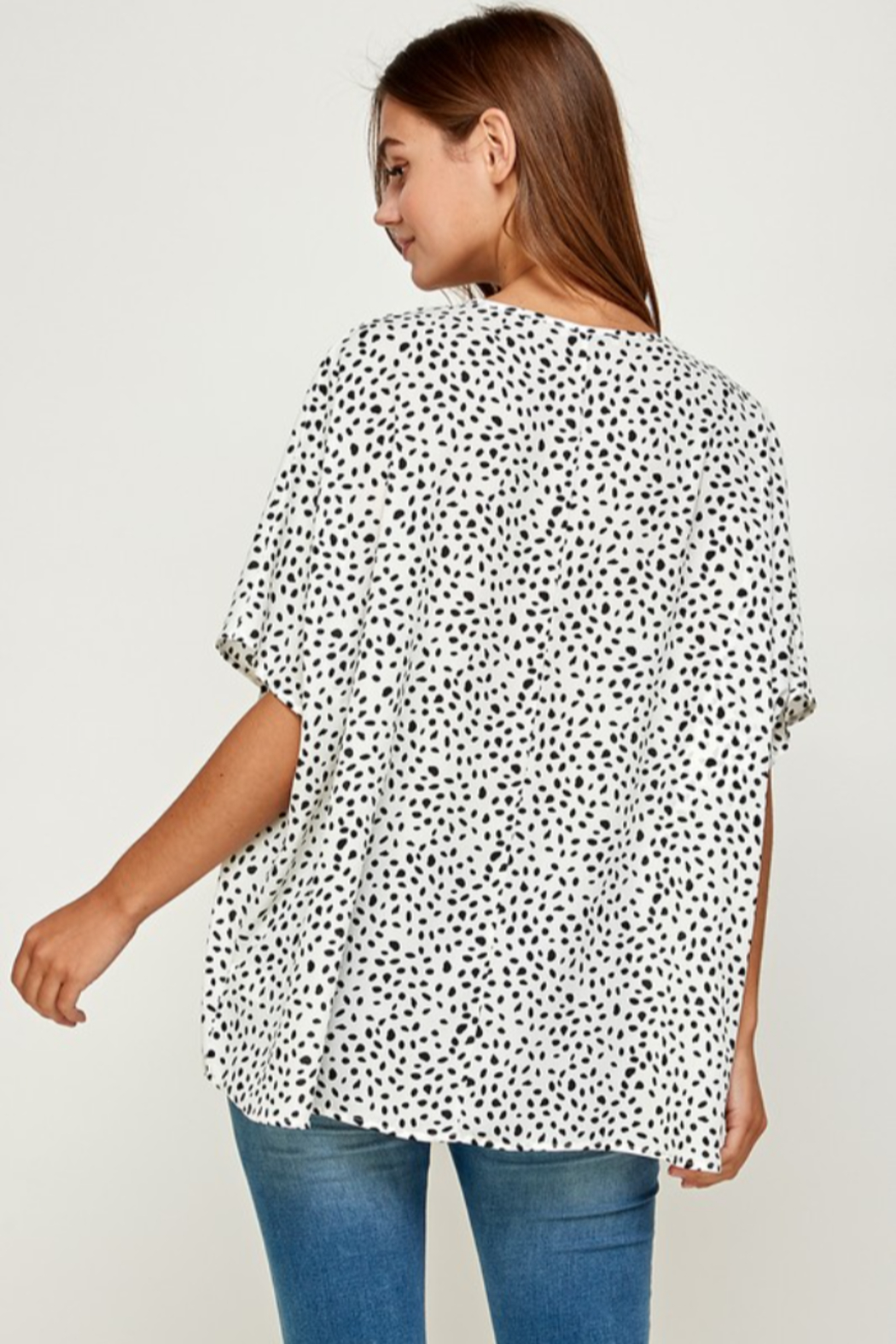 Summer 10 Casual V-Neck Dot Tunic Top - Front Full Image
