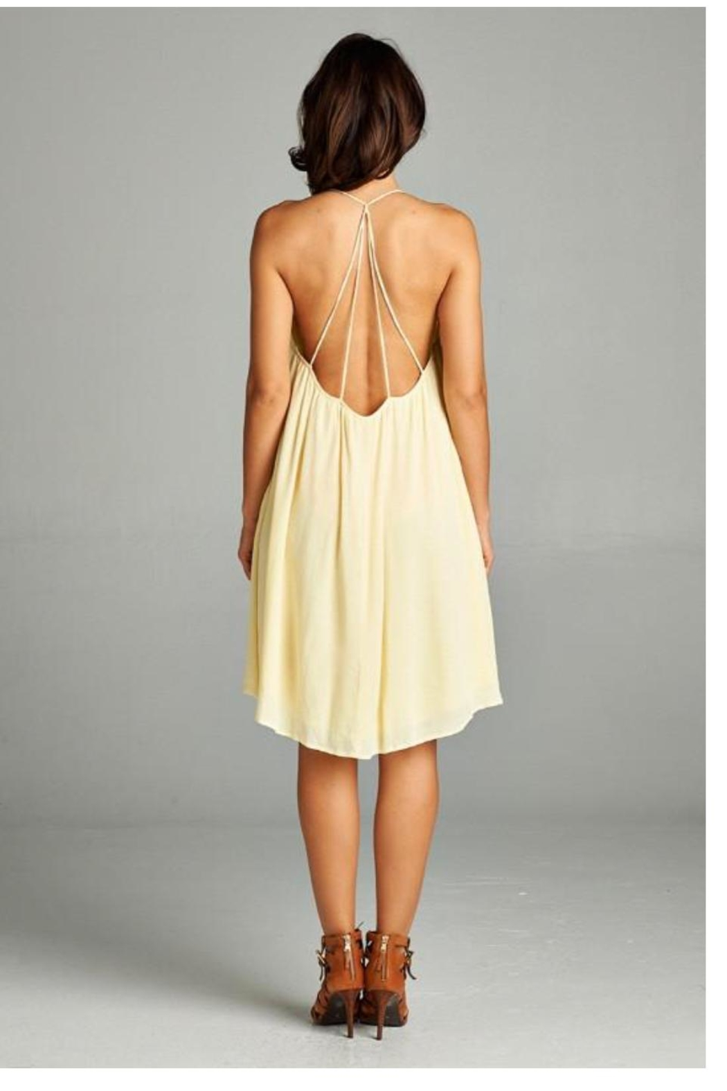 A Peach Casual Yellow Sundress - Front Full Image