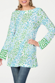Whimsy Rose Cat Green - Banded Boatneck Tunic - Product Mini Image