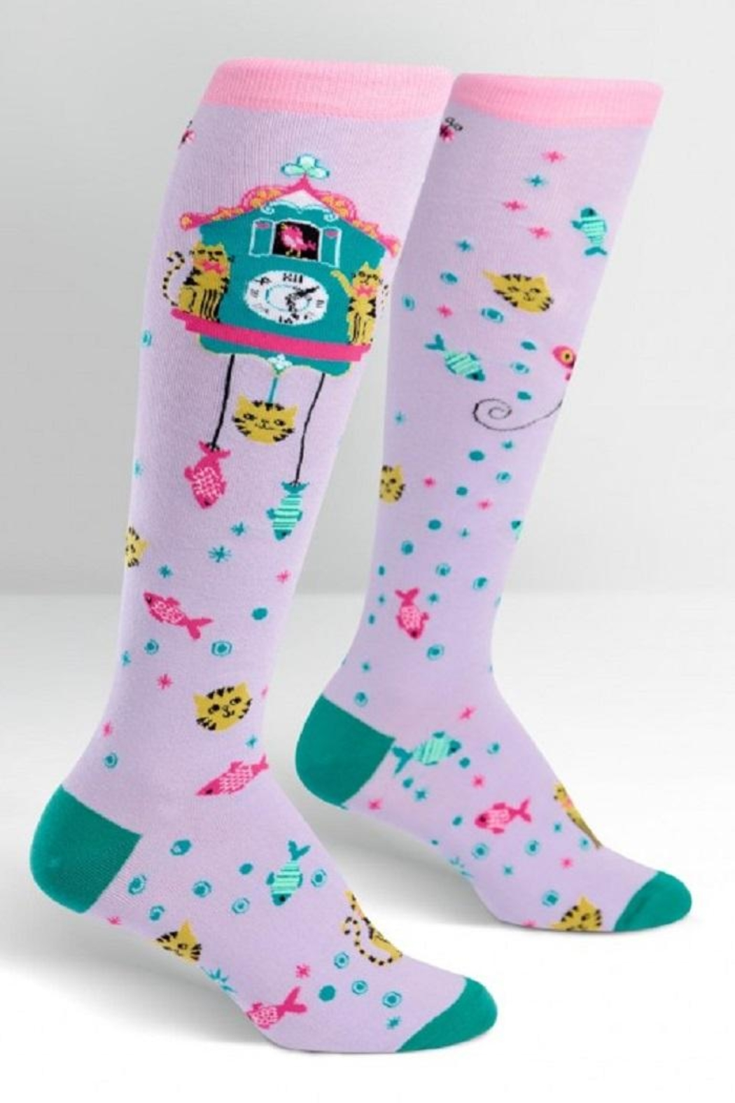 Sock it to me Cat O'clock Knee-Socks - Front Cropped Image