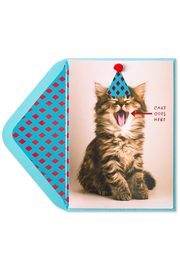 Papyrus Cat Wating For Cake Birthday Card - Front cropped