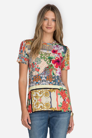 Johnny Was Catalina Block Short Sleeve Crew Tee - Front cropped