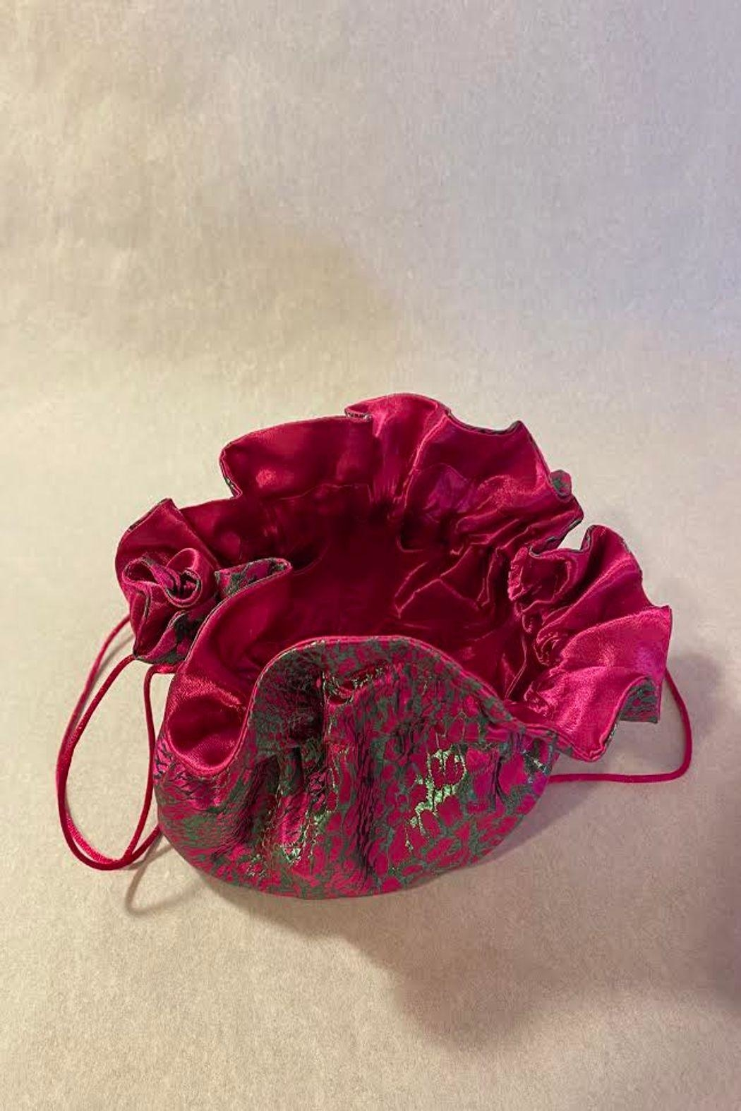Cathayana Fuchsia & Green Travel Jewelry Pouch - Front Full Image