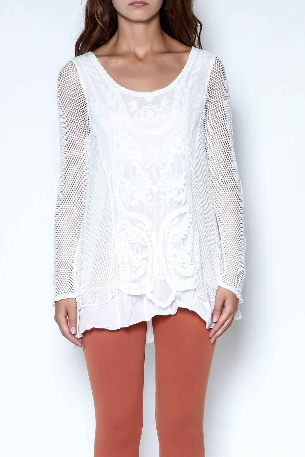 Catherine Lillywhite Knit Lace Top - Front Cropped Image