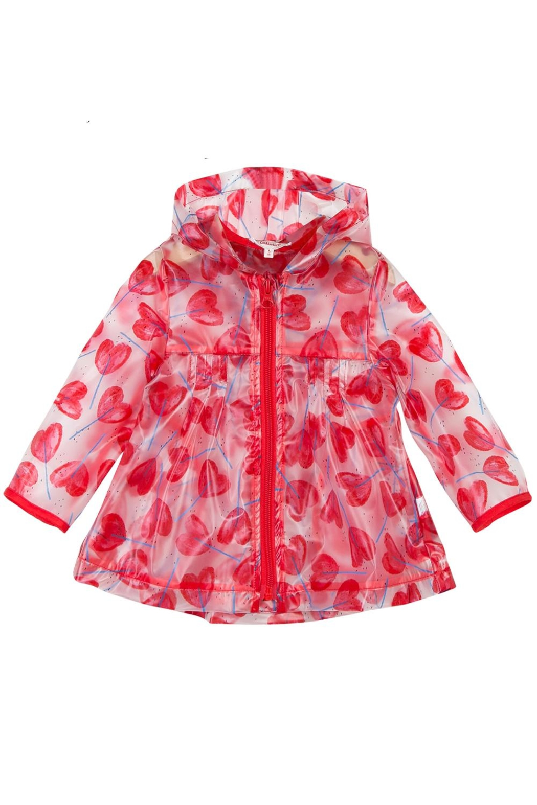 Catimini Transparent Heart Raincoat - Front Cropped Image